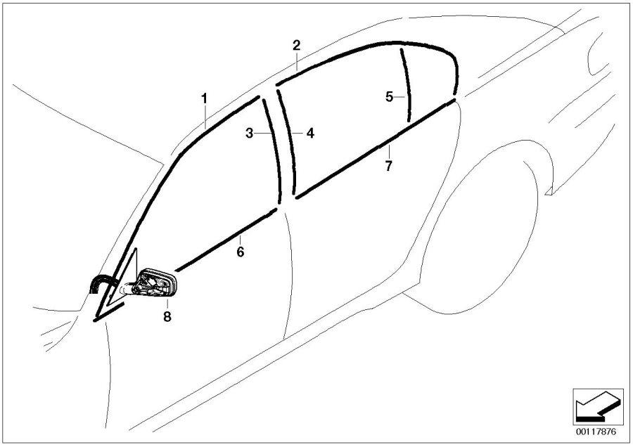 BMW 745i Finisher, window frame, top, door rr lt