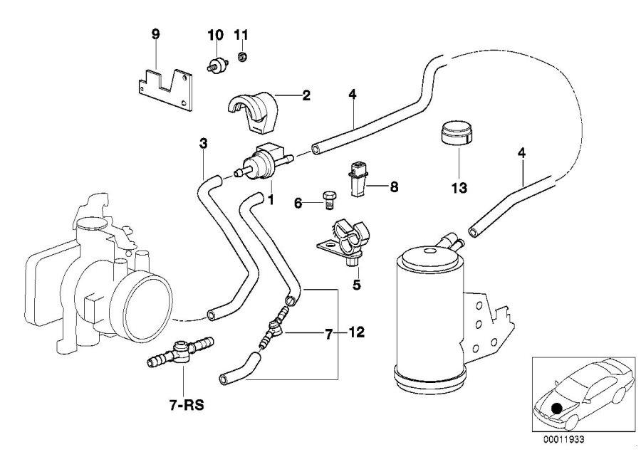 BMW 318i Bracket ventilation valve. Disturb, breath