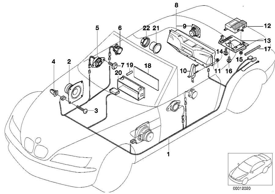 1997 BMW Z3 Audio wiring harness HiFi. System, Single