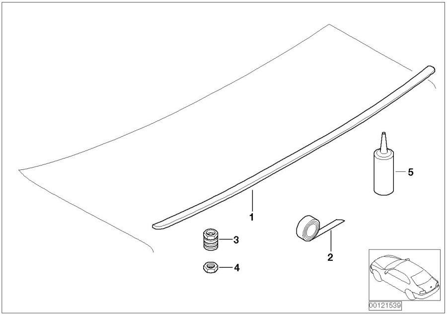 BMW 328Ci Adhesive tape. 1, 1X26X1400. Body, REAR, Rex