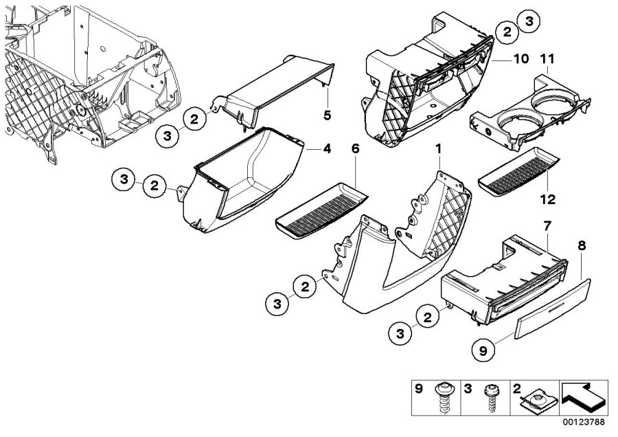 BMW X5 Decorative strip, can holder rear. TITAN 2. Body