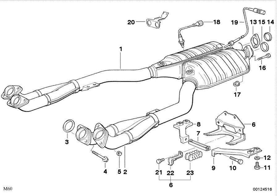BMW 530i Hex bolt. M8X65. Exhaust, System, CONVERTER