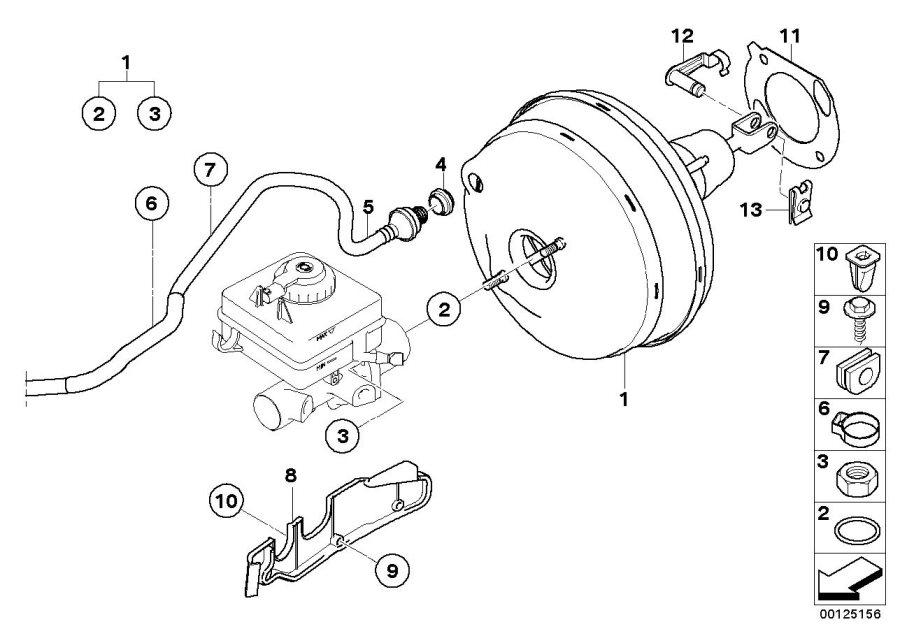 BMW 525i Brake servo unit. Brakes, Power, Maintenance