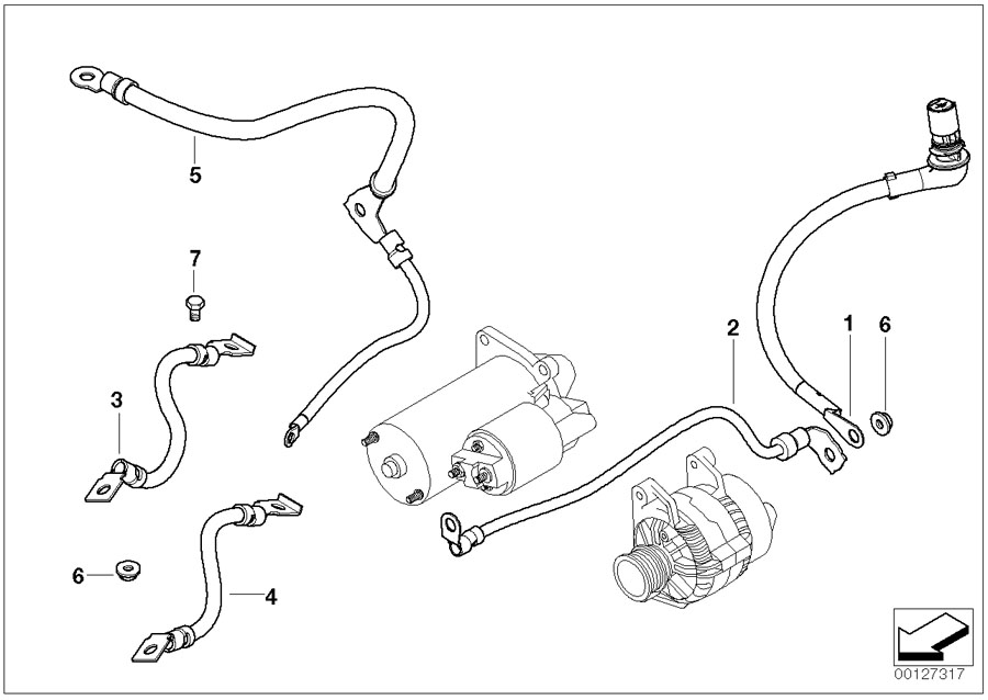BMW X3 Cable alternator-starter-base b+. Battery, system