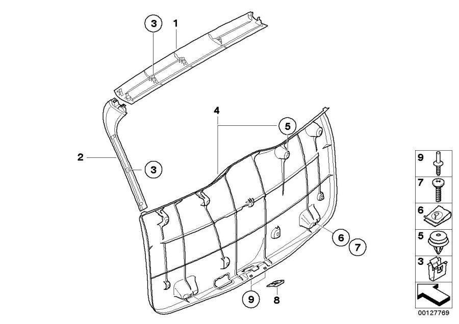 BMW X3 Upper trunk lid trim panel. Basaltgrau