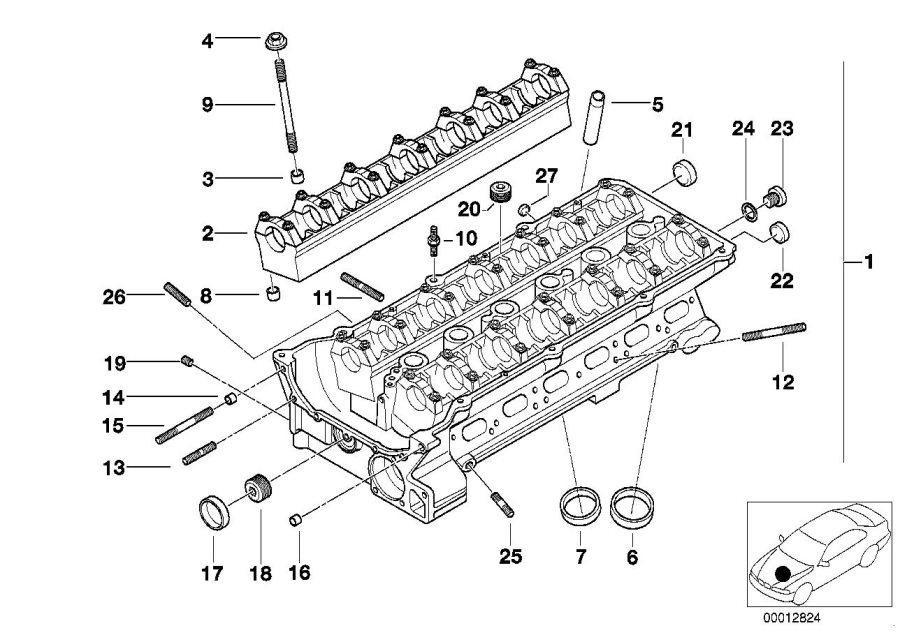 BMW 323Ci Stud bolt. M7/6X29, 5. Cylinder, Head