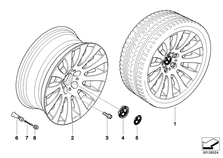BMW 645Ci Light alloy rim. 8JX18 ET:14. Wheels, Wheel