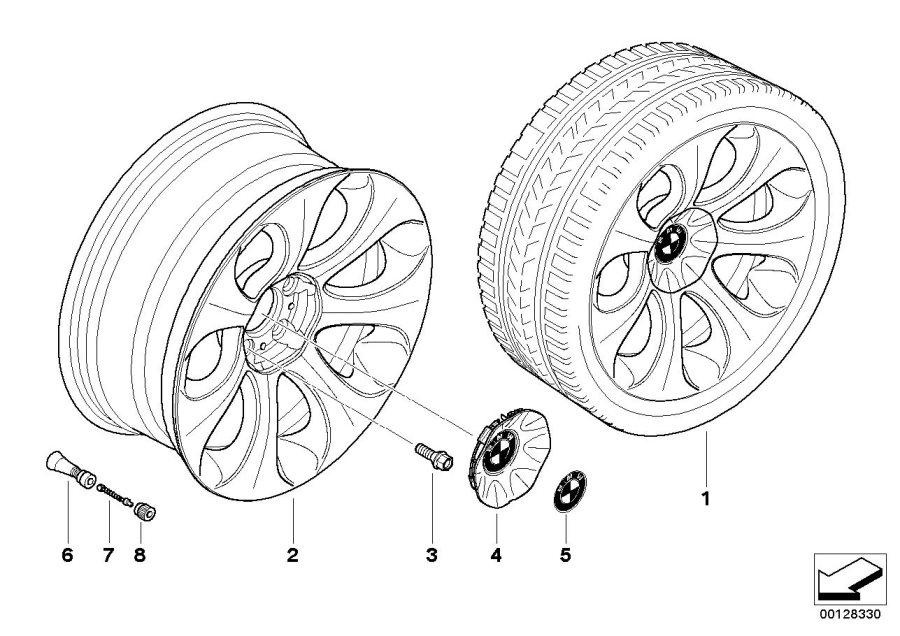 BMW 645Ci Light alloy rim. 81/2JX19 ET:14. Wheels, Wheel