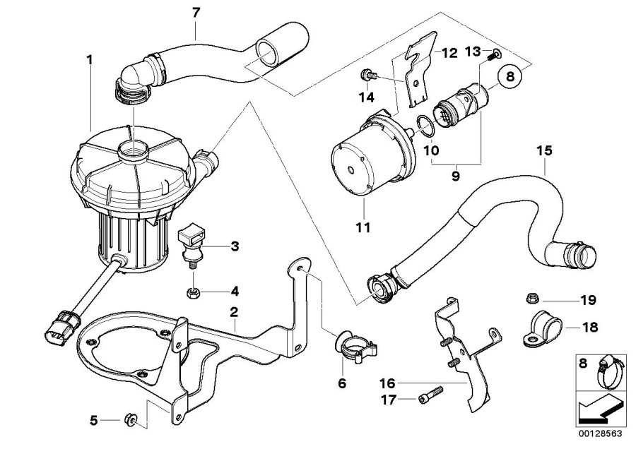BMW 645Ci Secondary air pump bracket. Manifold, exhaust