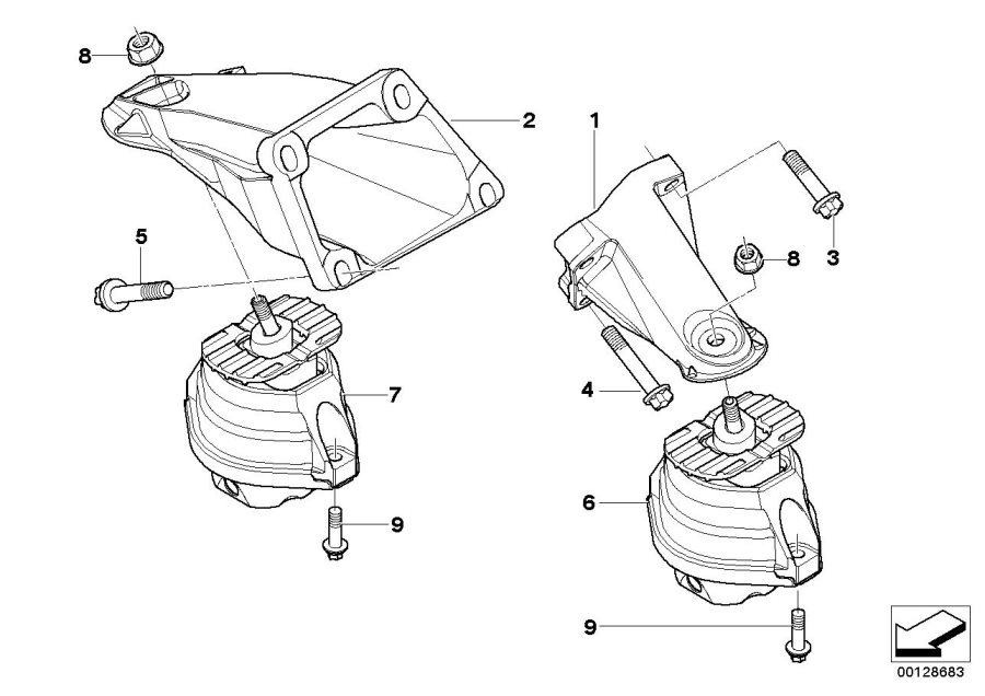 BMW 545i Engine mount, right. Suspension, Transmission