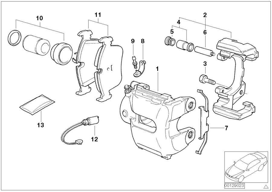 BMW X3 Repair set brake caliper. Brakes, front, sensor