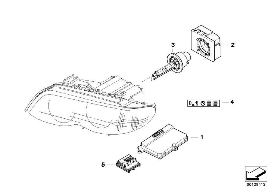 BMW X5 Stick-on label xenon-light. Headlight, single