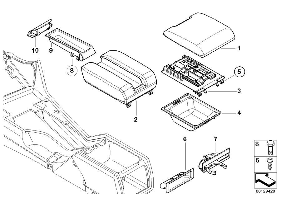 BMW 530i Center arm rest, imitation leather. SCHWARZ