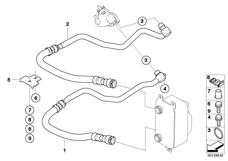 BMW 645Ci Bracket for engine oil cooler line. Radiator