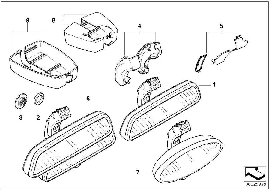BMW 325i Rearview mirror EC / LED. Interior, Equipment