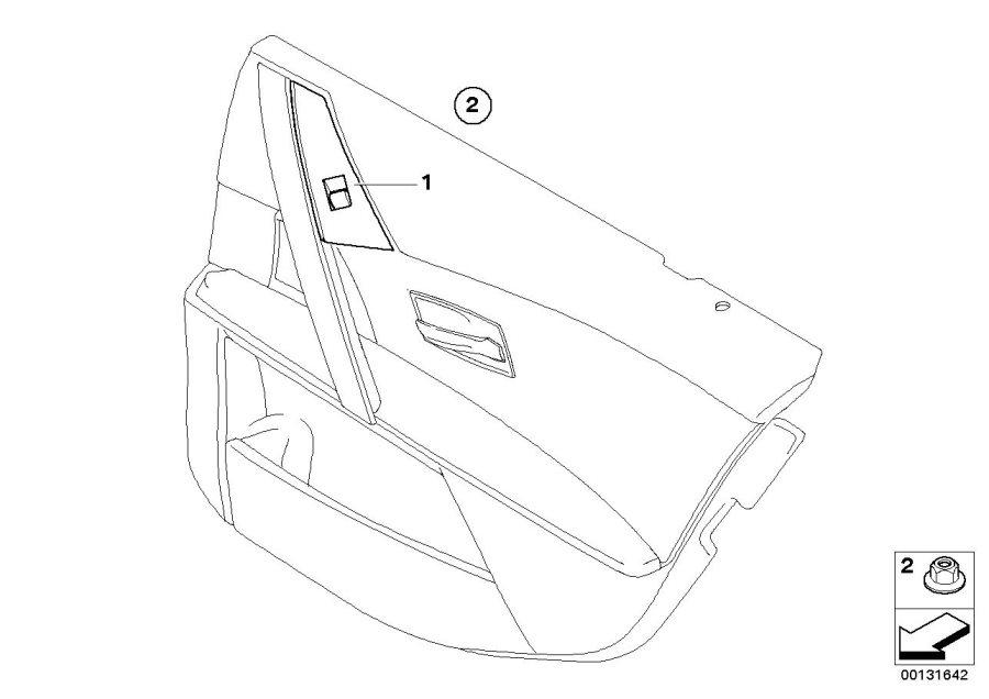 BMW 545i Switch, window lifter, rear right. BEIGE