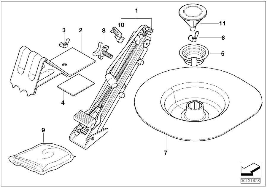 BMW 330Ci Trunk tray, emergency wheel. Jack, Tool, Lifting