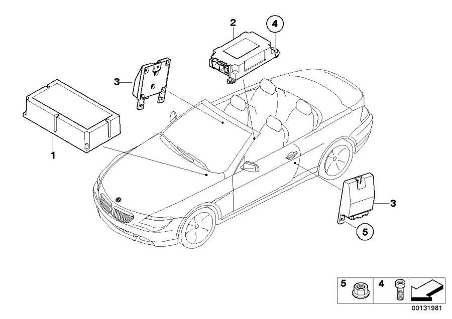 BMW 645Ci Sensor, B-pillar right. Electric, Airbag, System