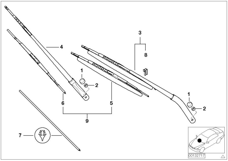 BMW X5 Wiper arm, passenger's side. Lamp, Head, Electrical