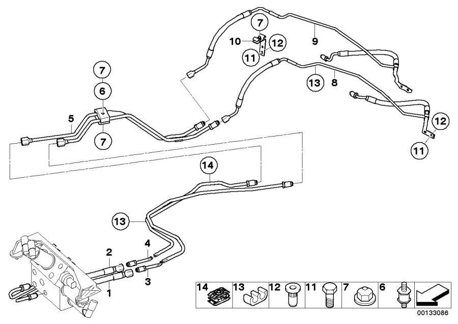 BMW 535i Pressure line, motor. M14X1, 5/M16X1, 5