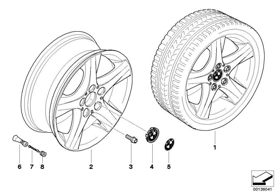 BMW 128i Light alloy rim. 7JX17 ET:47. Wheels, Wheel