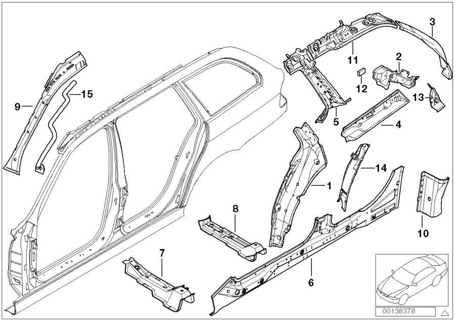 BMW 528i reinforcement D-piller inside right. Body