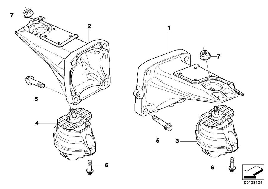 BMW M5 Engine supporting bracket, left. Suspension
