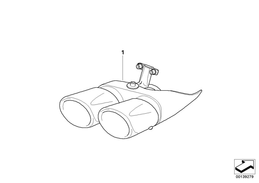 BMW X3 Tailpipe trim, chrome. Exterior, Exhaust, Package