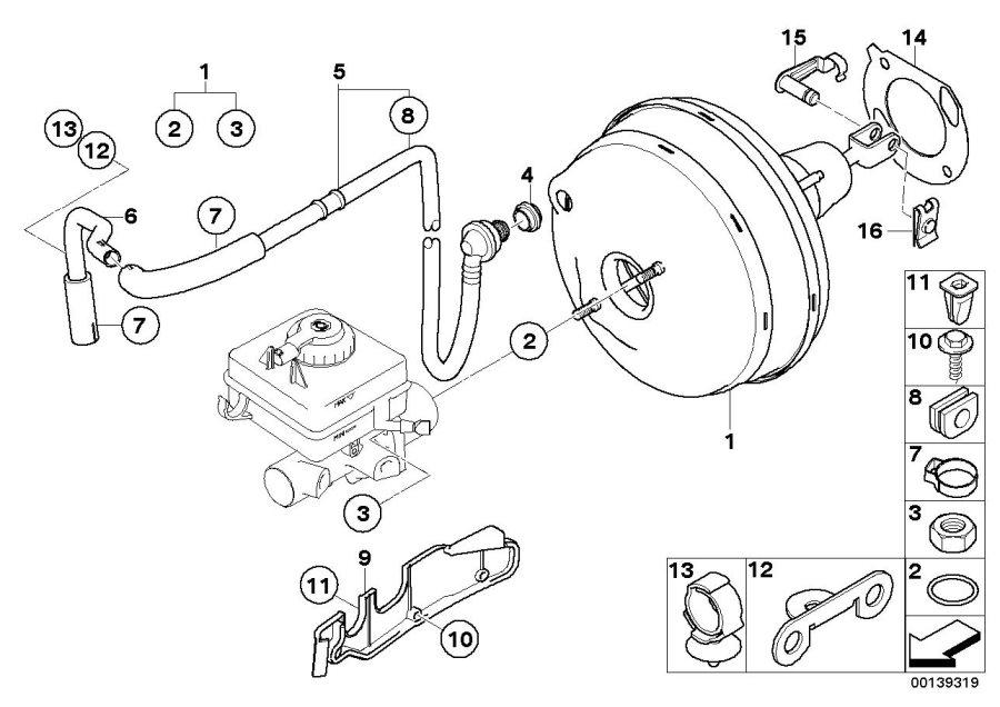 BMW 530i Brake servo unit. Brakes, Maintenance