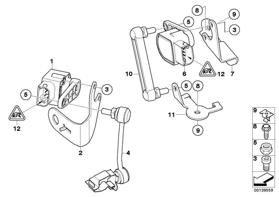 BMW 128i Left ride height sensor bracket. Suspension, Axle