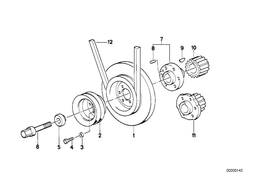 BMW 528e Vibration damper. Drive, Engine, Crankshaft, Belt