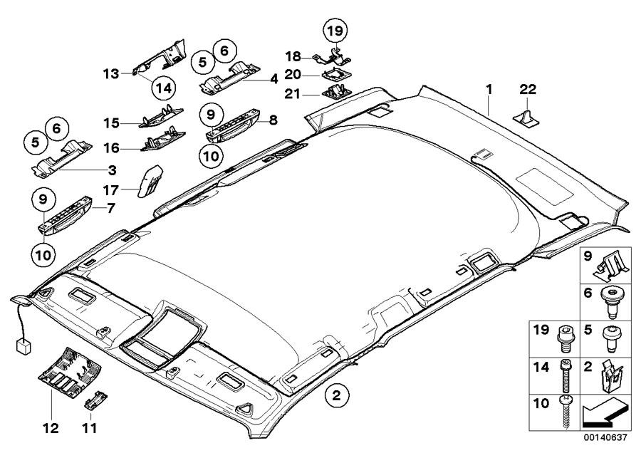 BMW X3 Handle rear left. Grau. Interior, headlining