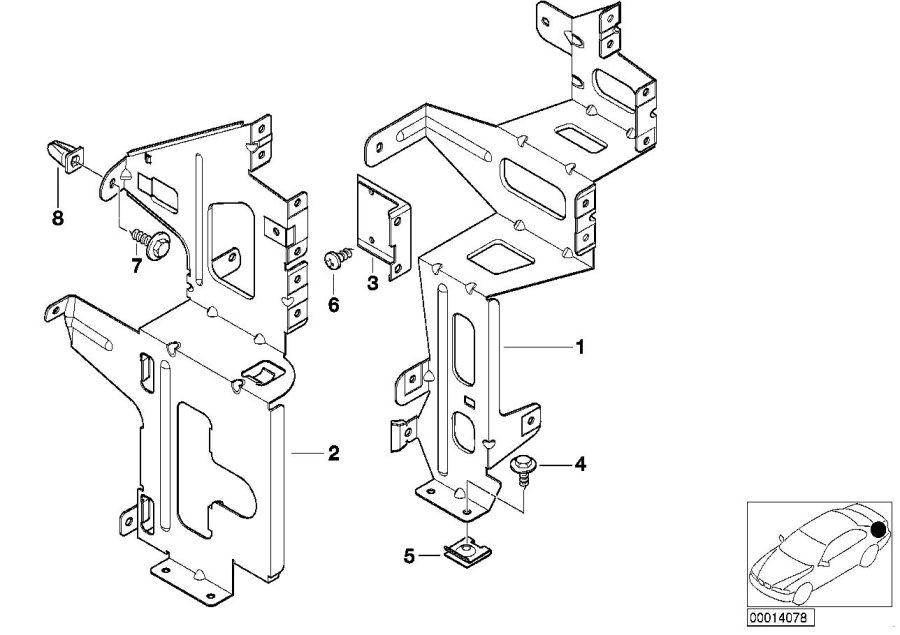BMW 323i Base support system, front. Electrical, Changer