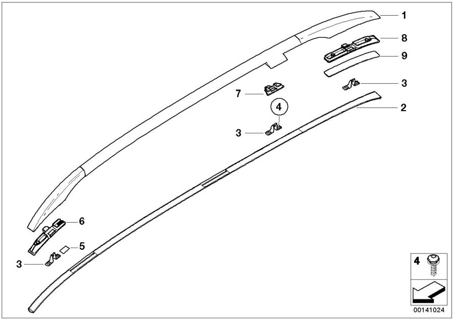 BMW 325i Roof railing, right. Trim, Exterior, Body