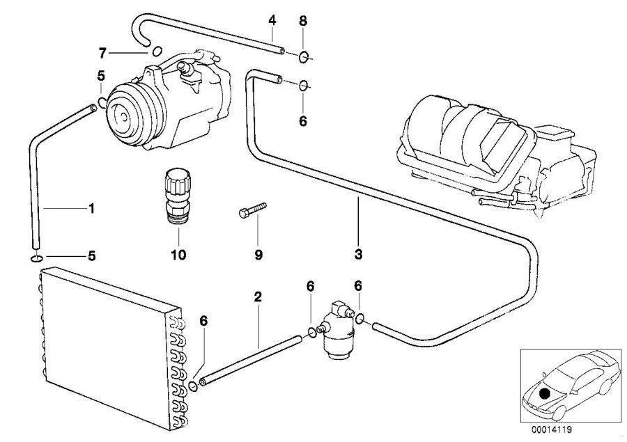 BMW 740i Pressure hose, compressor-condenser. Coolant