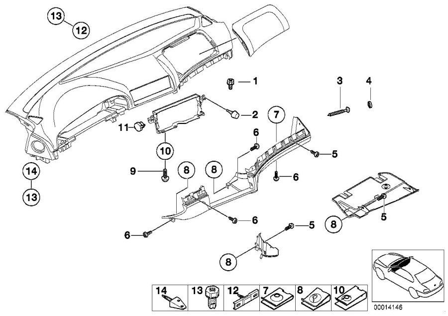 BMW 530i Dashboard centering support, center. Instrument