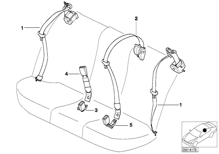 BMW 540i Center upper belt with child protection