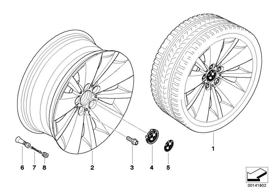 BMW 750Li Light alloy rim. 8JX18 ET:24. Wheels, Wheel