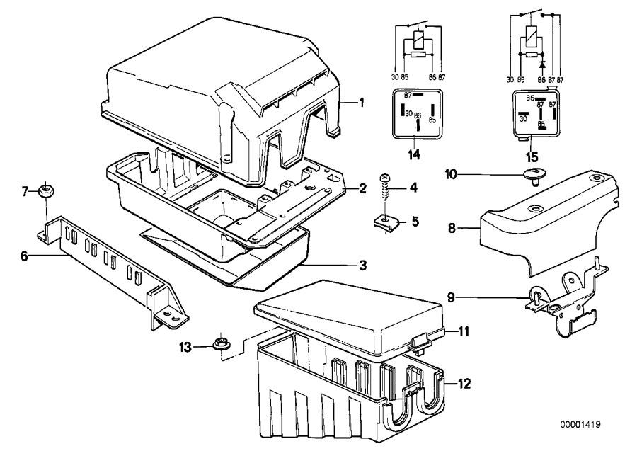 BMW 750iL Relay box upper part. Control, unit