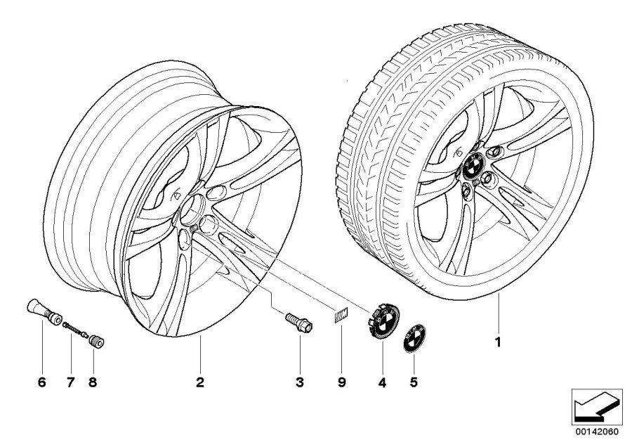 BMW 650i Light alloy rim. 8JX18 ET: 14. Wheels, Wheel