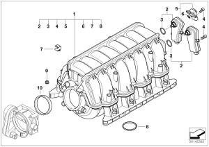 BMW 745Li Differential pressure sensor Engine, Manifold