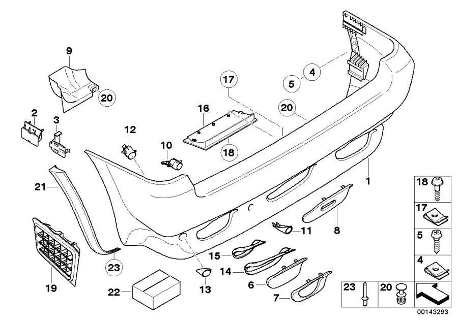 BMW X5 Support rear left bumper trim. Panel, Body
