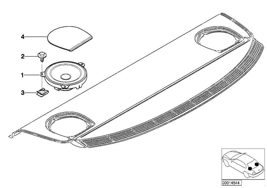 BMW 330i Cover Loudspeaker. GRAU. Body, Equipment, Shelf