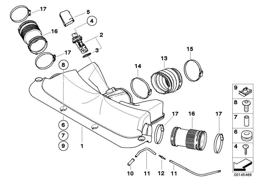 BMW 750Li Hot-film air mass meter. ALPINA, Intake, HFM