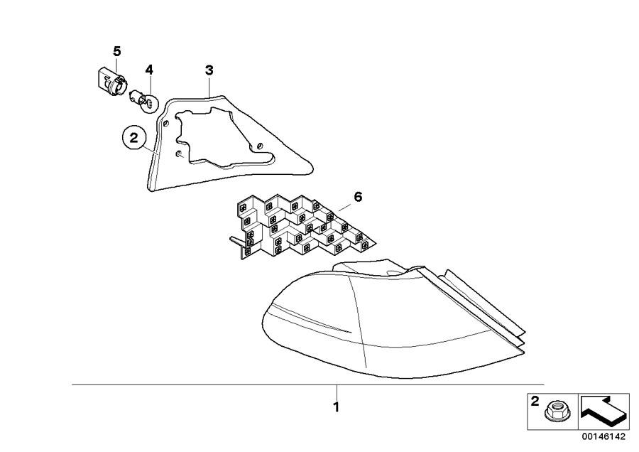 BMW 750i Tail light PC-board, side panel, left. Rear