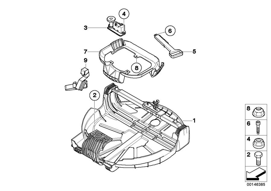 BMW X3 Emergency wheel lowering mechanism. Body
