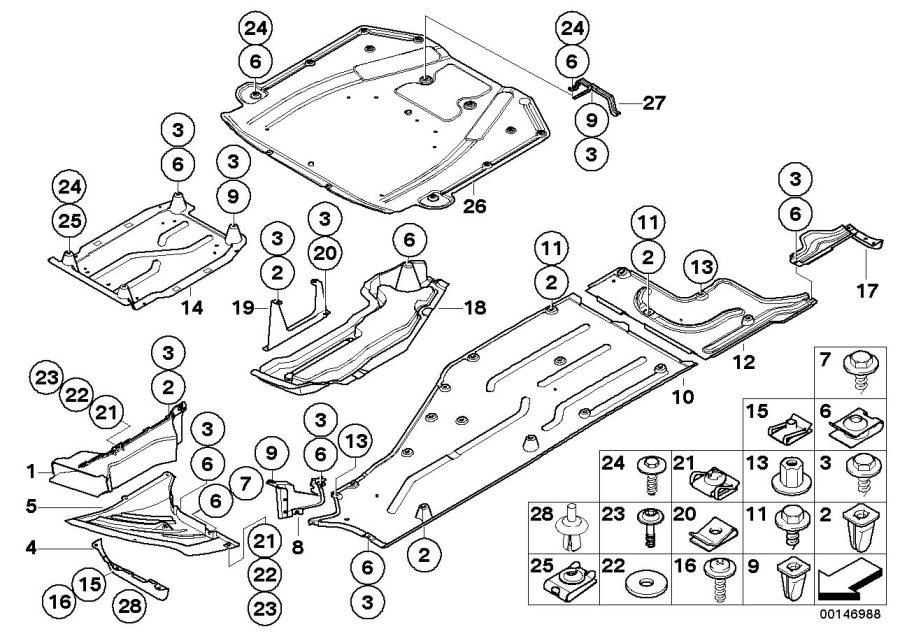 bmw engine compartment diagram of 2001