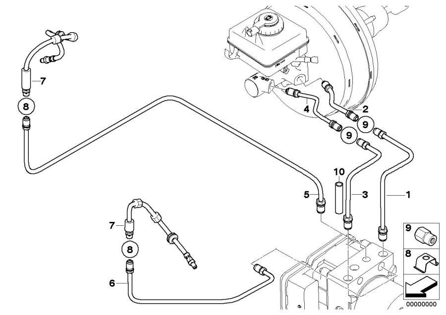 BMW M5 Brake circuit pipe, rear. D=6MM. Brakes, Front