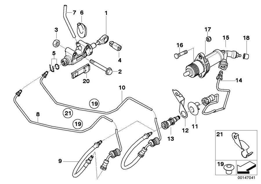 BMW X1 Clutch slave cylinder. D=22, 20MM. Coupé