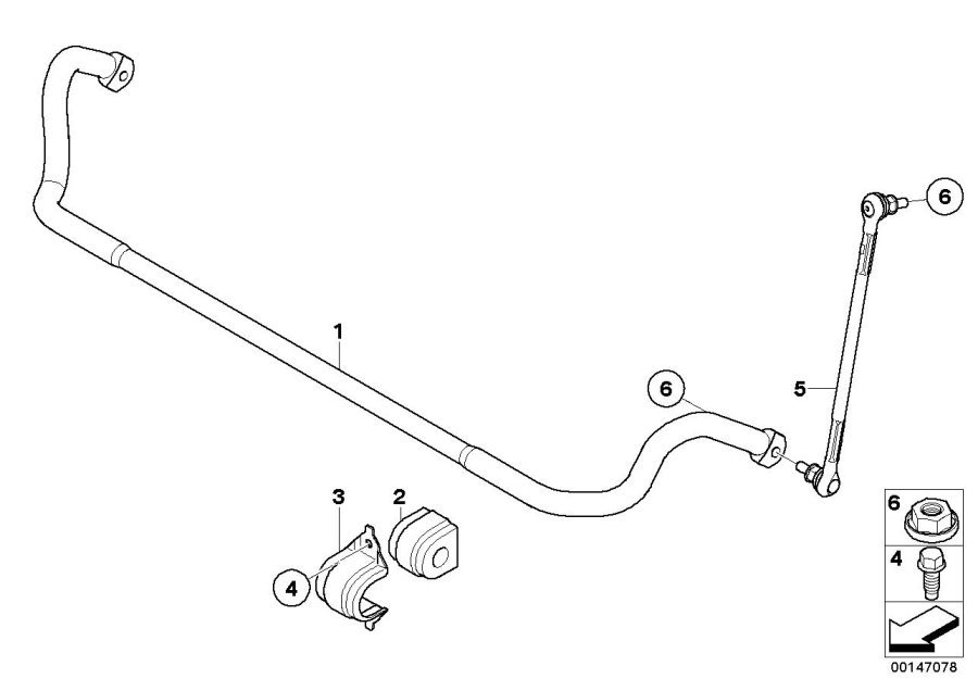 BMW 330xi Stabilizer support. Front, suspension, axle